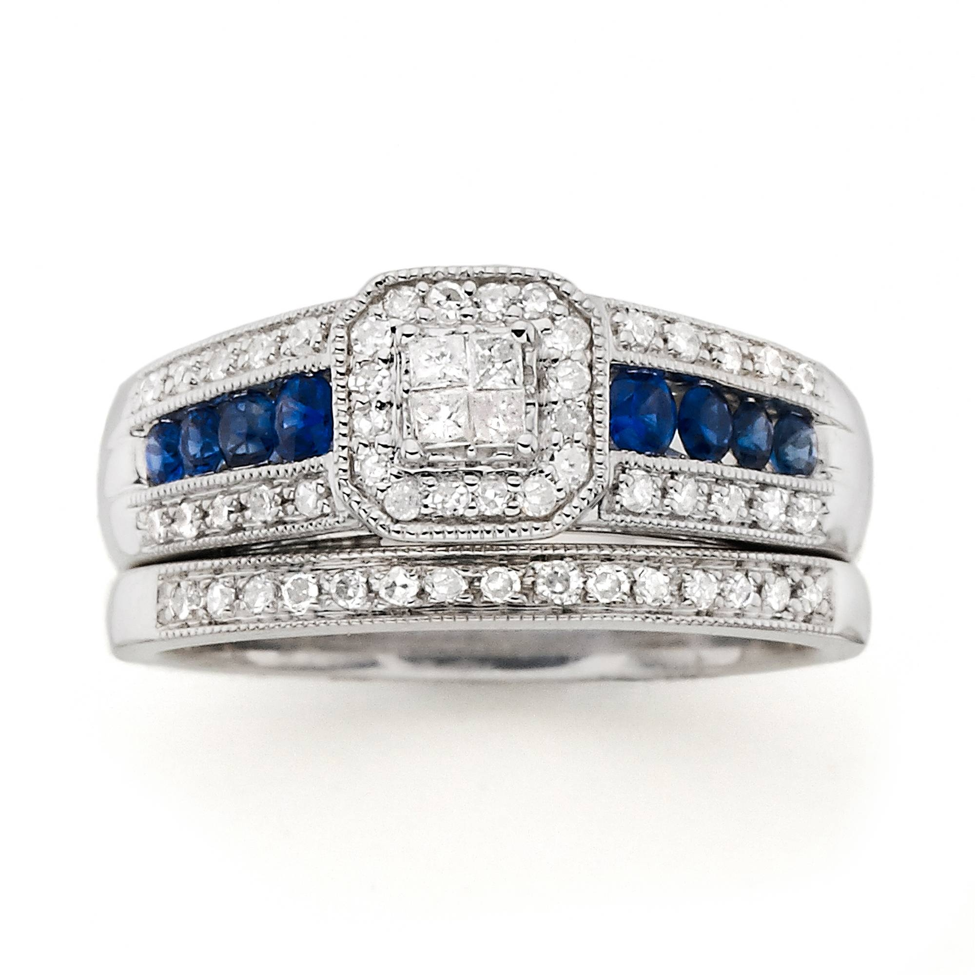 Blue Diamond Bridal Sets With Blue Diamond Wedding Ring Sets (View 4 of 15)
