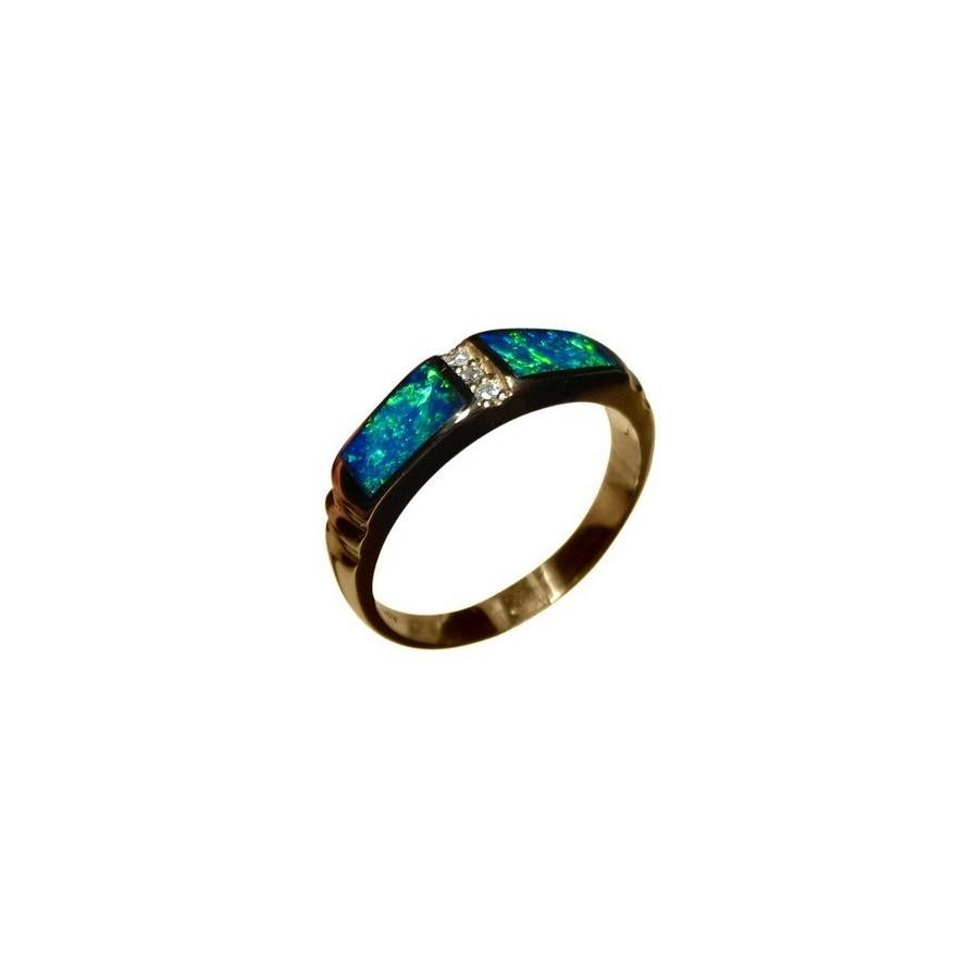 Blue Green Opal Ring With Diamonds 14K Gold Band | Flashopal Throughout Opal Wedding Bands (View 1 of 15)