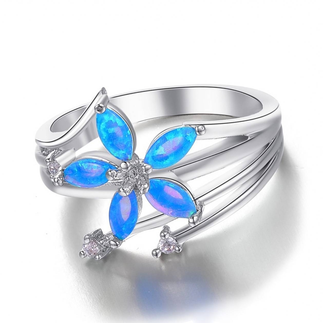 Blue Opal Diamond Engagement Wedding Rings K Gold | Ksvhs Jewellery In Blue Opal Wedding Rings (View 5 of 15)