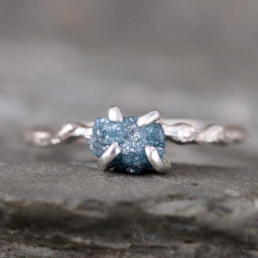 Blue Raw Diamond Ring – Twig Rings – Branch Ring – Woodland Rings Regarding Rustic Engagement Rings (View 1 of 15)