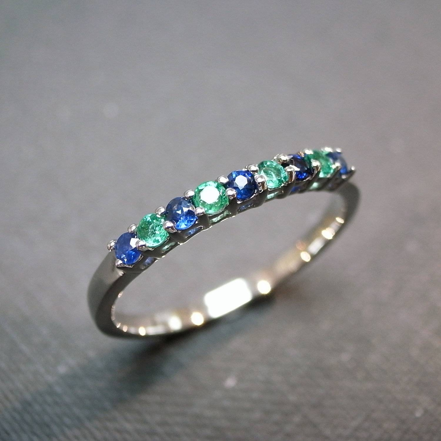 Blue Sapphire And Emerald Wedding Ring In 14 White Gold For Emerald And Sapphire Engagement Rings (View 4 of 15)
