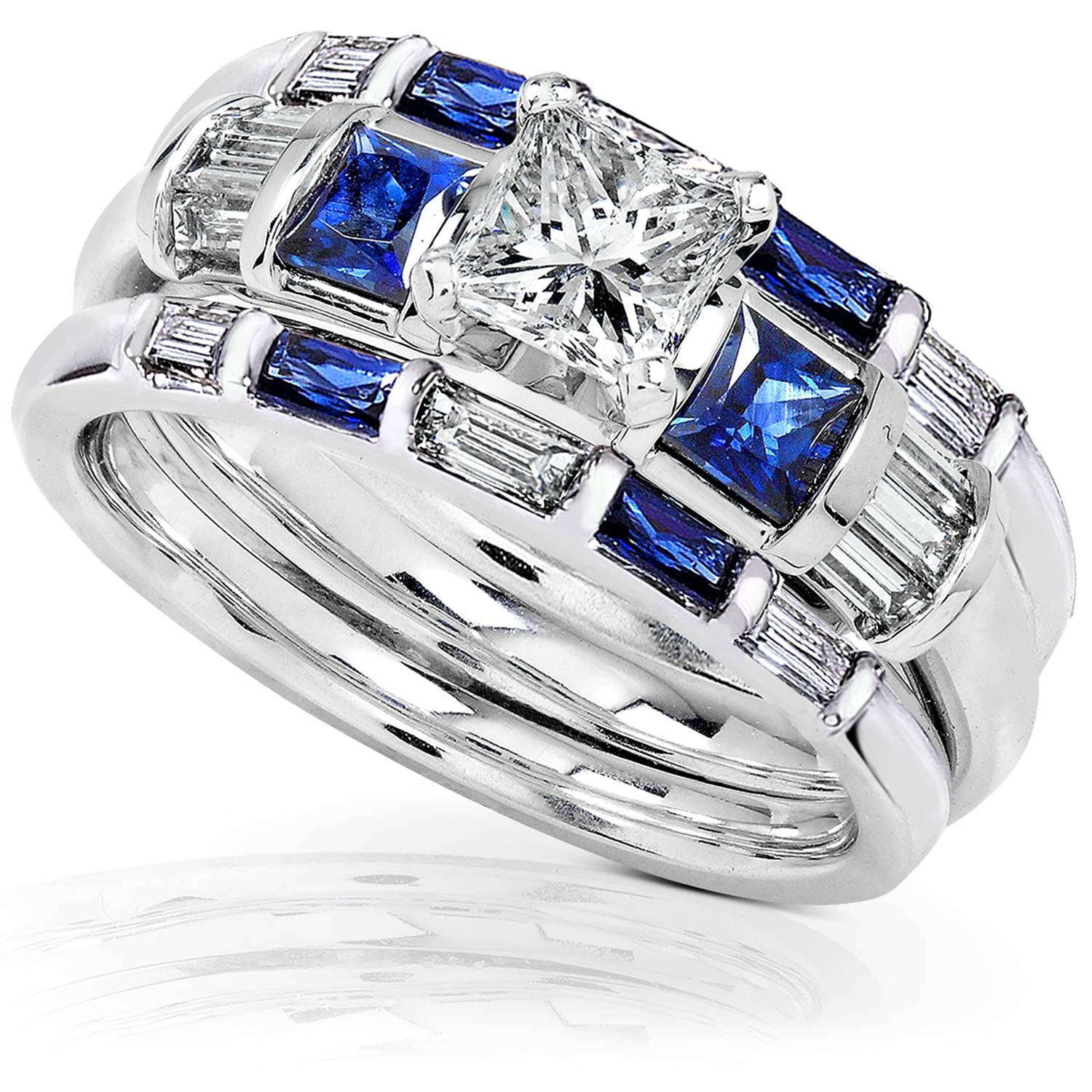 Blue Sapphire & Diamond Wedding Rings Set 1 1/2 Carat (Ctw) In 14K Throughout Blue Diamond Wedding Ring Sets (View 6 of 15)