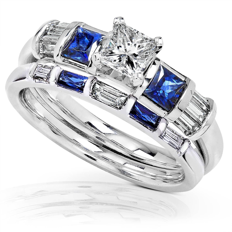 Blue Sapphire & Diamond Wedding Rings Set 1 Carat (Ctw) In 14K In Diamond And Sapphire Wedding Rings (View 1 of 15)