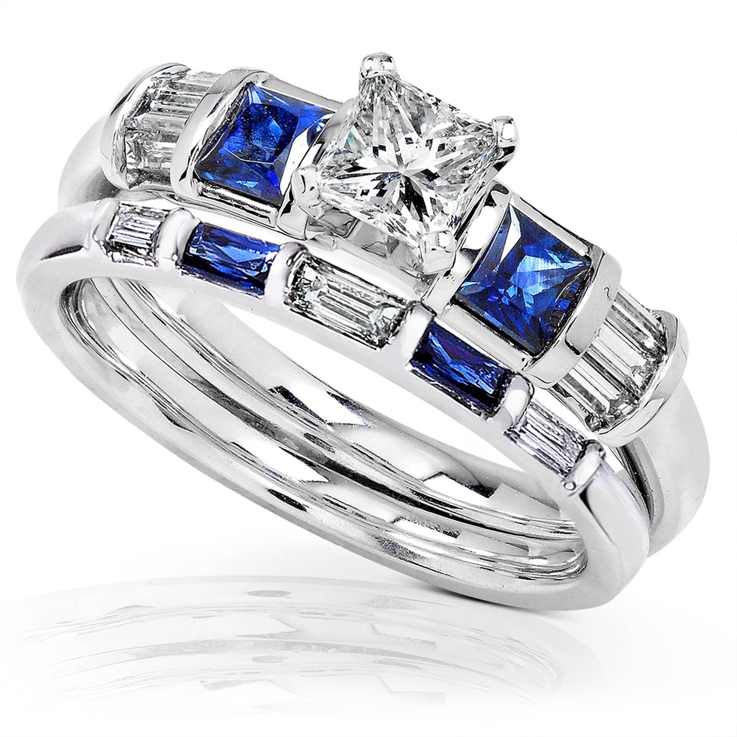Blue Sapphire & Diamond Wedding Rings Set 1 Carat (Ctw) In 14K With Blue Diamond Wedding Ring Sets (View 7 of 15)