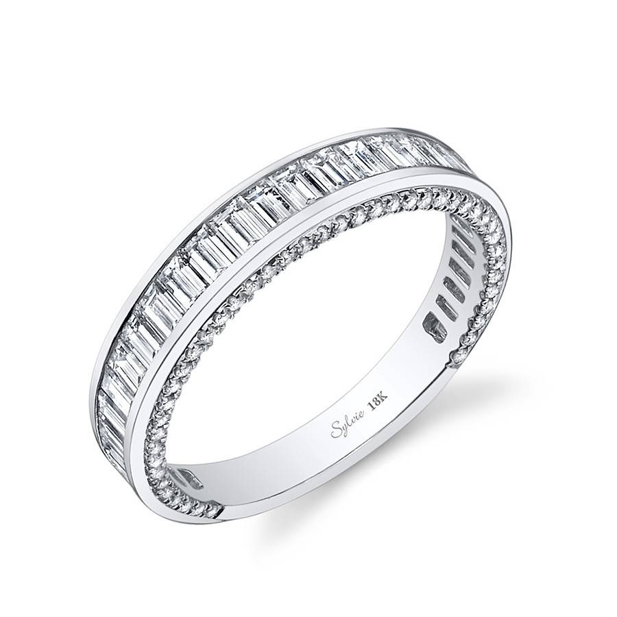Bold Baguette Diamond Wedding Band – Sylvie – Designers Regarding Wedding Bands With Baguettes (View 4 of 15)