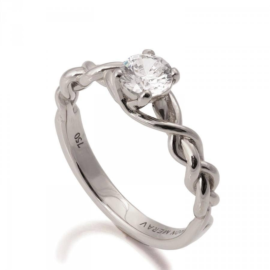 Braided Engagement Ring – 18K White Gold And Diamond Engagement Inside Diamond Braided Engagement Rings (View 2 of 15)