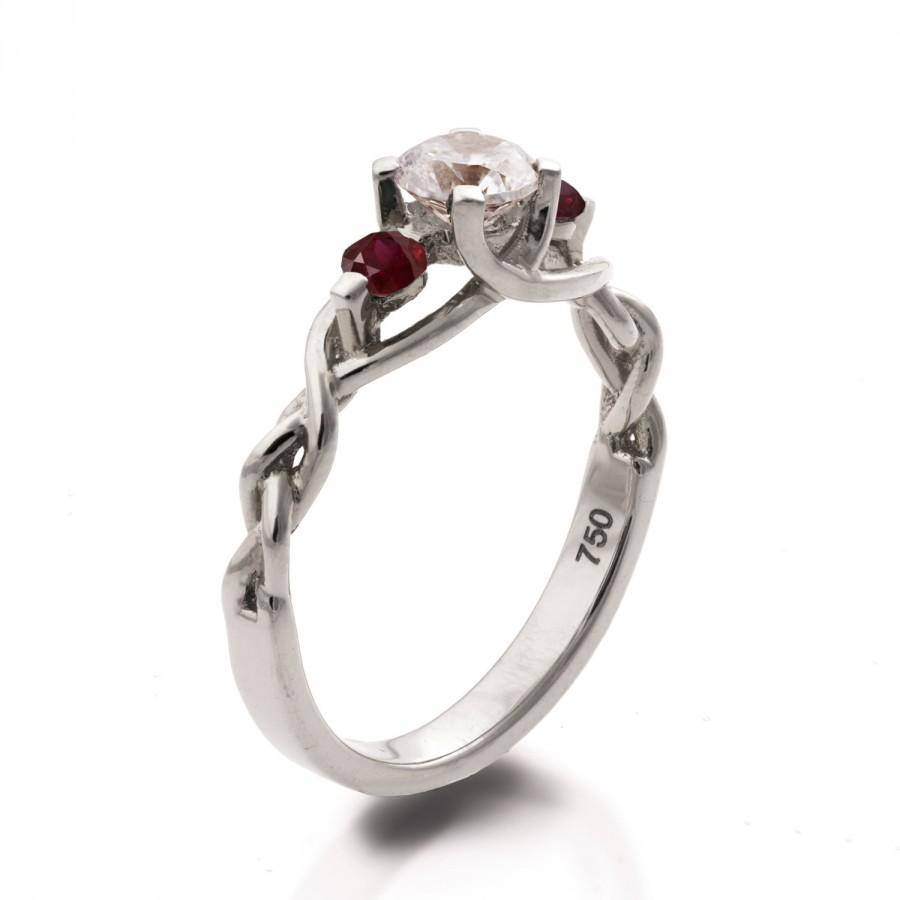 Braided Engagement Ring – Diamond And Rubies Engagement Ring Regarding Diamond Braided Engagement Rings (View 3 of 15)