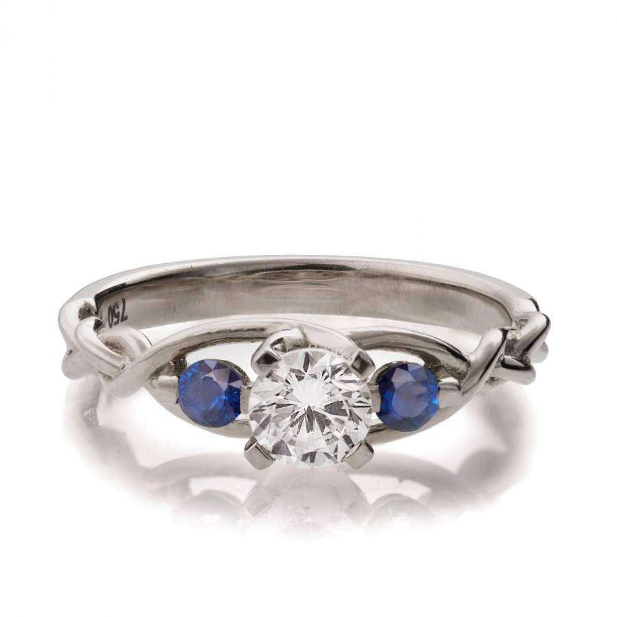 Braided Engagement Ring – Diamond And Sapphires Engagement Ring Within Celtic Sapphire Engagement Rings (View 1 of 15)