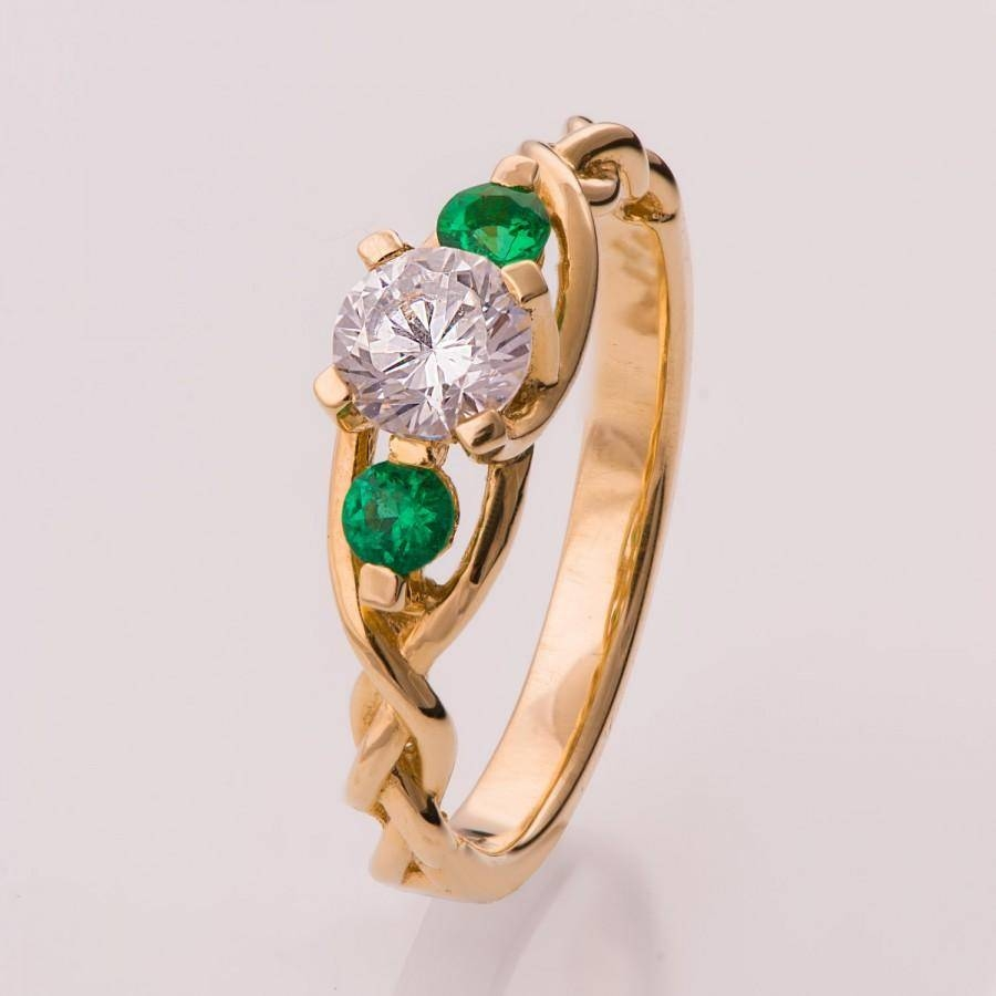 Braided Engagement Ring – Diamonds And Emeralds Engagement Ring In Celtic Emerald Engagement Rings (View 7 of 15)