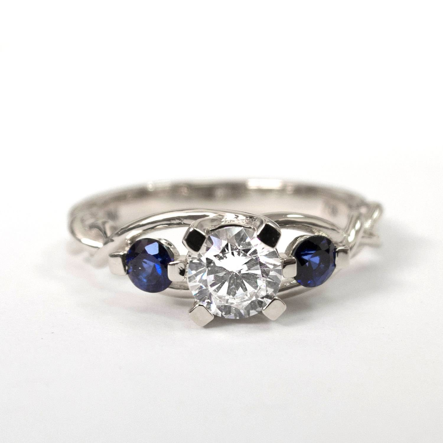 Braided Engagement Ring No.7 Diamonds And Sapphire With Celtic Sapphire Engagement Rings (Gallery 5 of 15)