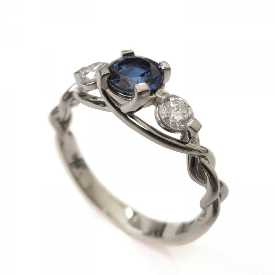 Braided Engagement Ring – Sapphire And Diamond Engagement Ring Pertaining To Celtic Sapphire Engagement Rings (View 6 of 15)