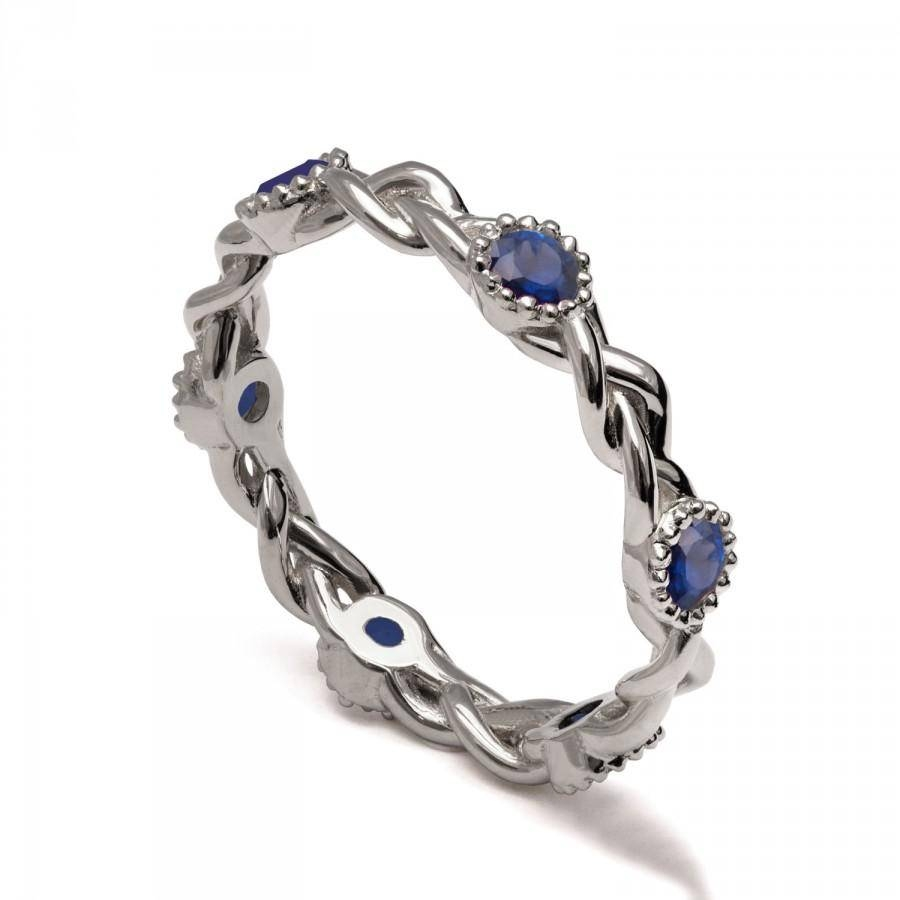 Braided Eternity Ring – 14k White Gold And Sapphire Engagement Pertaining To Celtic Sapphire Engagement Rings (View 3 of 15)