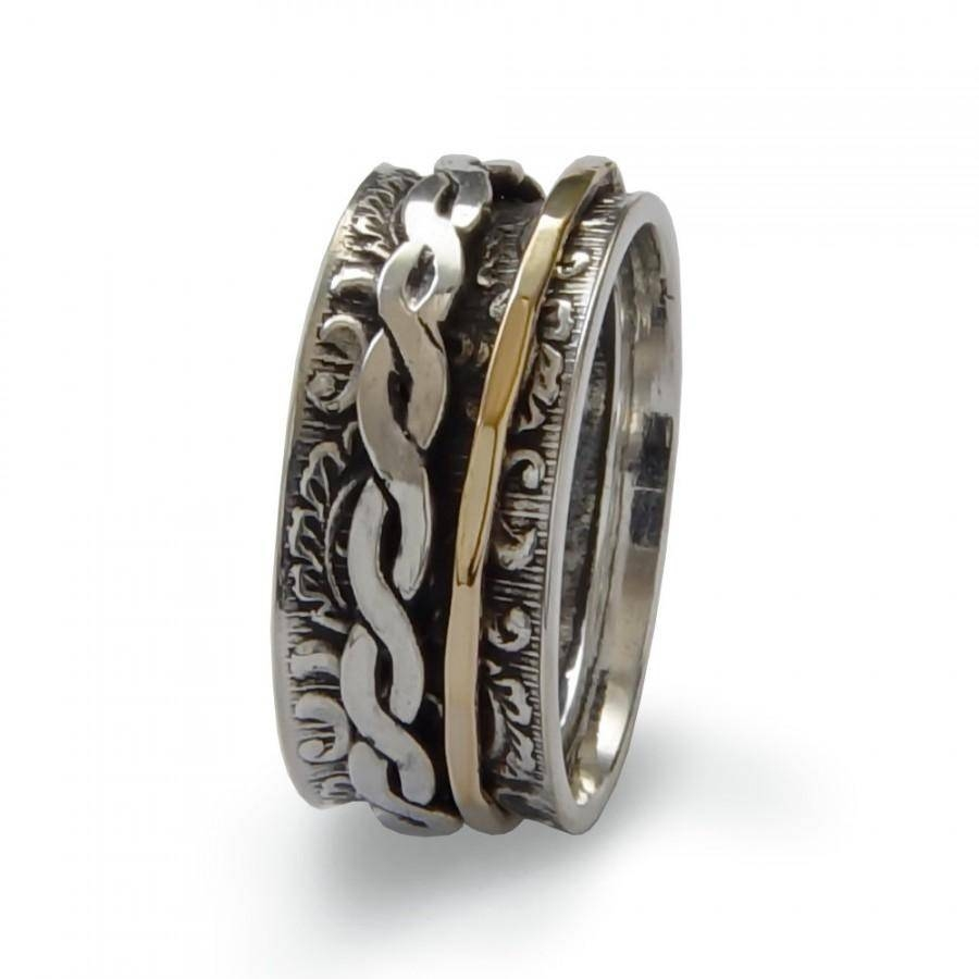 Braided Gold Spinner Ring, Sterling Silver And Gold Filled, Unisex Within Men's Spinner Wedding Bands (View 1 of 15)