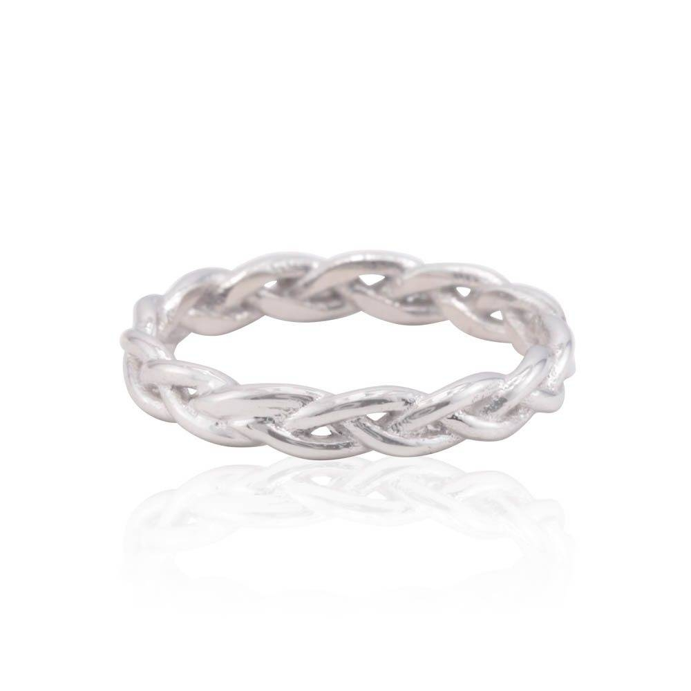 Braided Ring In 14K White Gold – Twisted Wedding Band 25% Off In Twisted Wedding Bands (View 3 of 15)