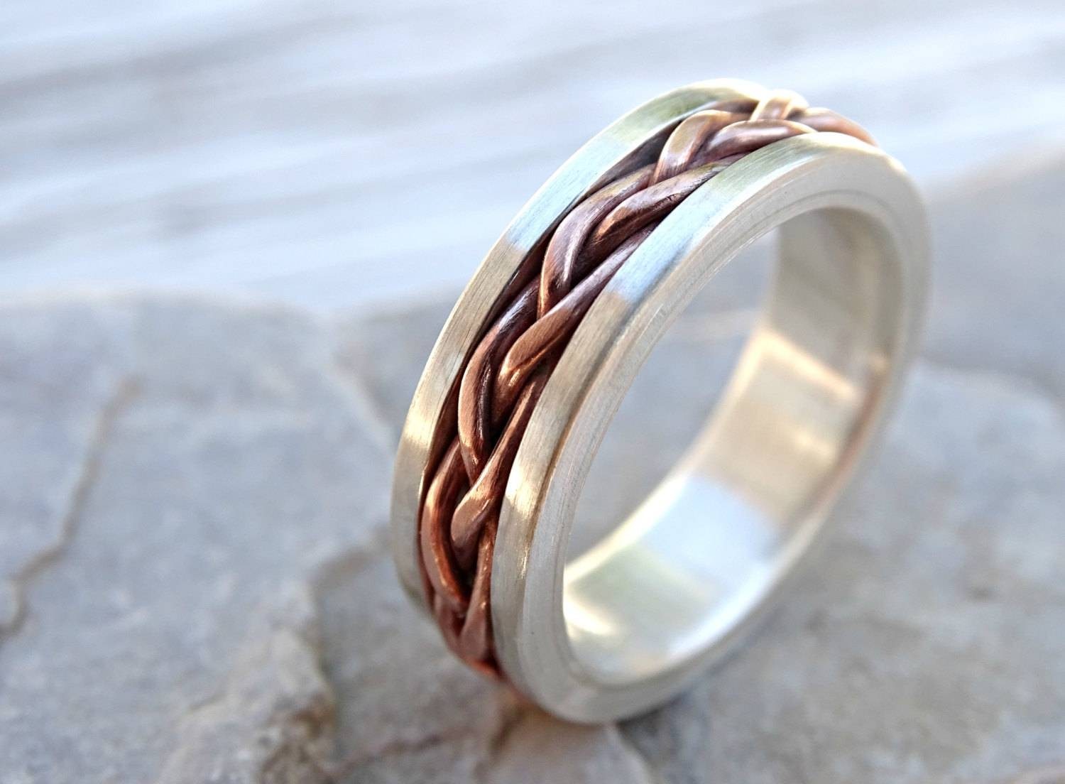 Braided Ring Silver Copper Unique Wedding Band Silver Mens Regarding Men's Braided Wedding Bands (View 9 of 15)
