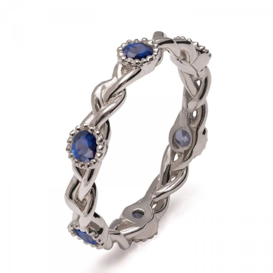 Braided Sapphire Band , 18K White Gold Braided Eternity Band Intended For Unique Celtic Engagement Rings (View 10 of 15)