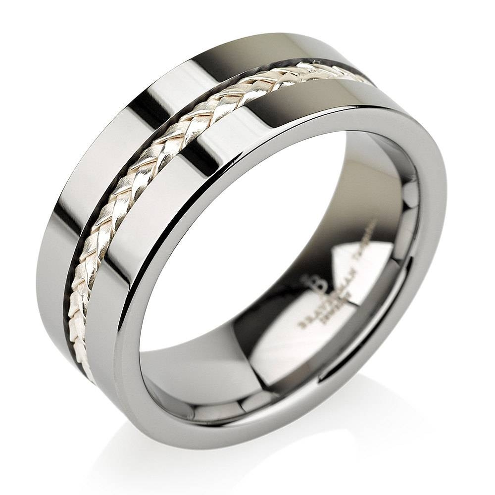 Braided Silver Inaly Tungsten Wedding Bands, Mens Ring, Mens Intended For Mens Braided Wedding Bands (View 12 of 15)