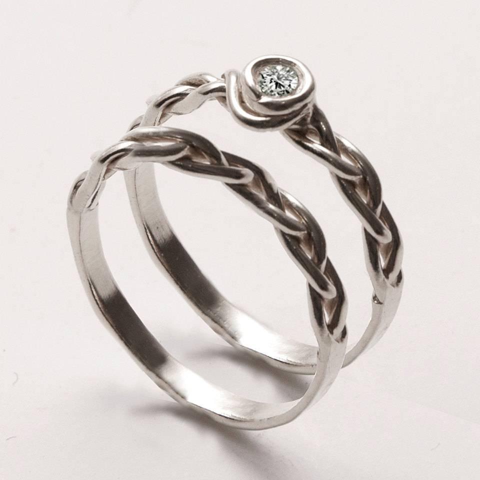 Braided Wedding Ring Set 3 14K White Gold And Diamond With Regard To Diamond Braided Engagement Rings (View 15 of 15)