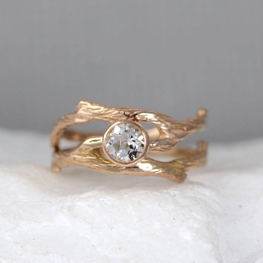 Branch Style Engagement Ring And Wedding Band Set – Twig Rings Inside Tree Inspired Engagement Rings (Gallery 5 of 15)