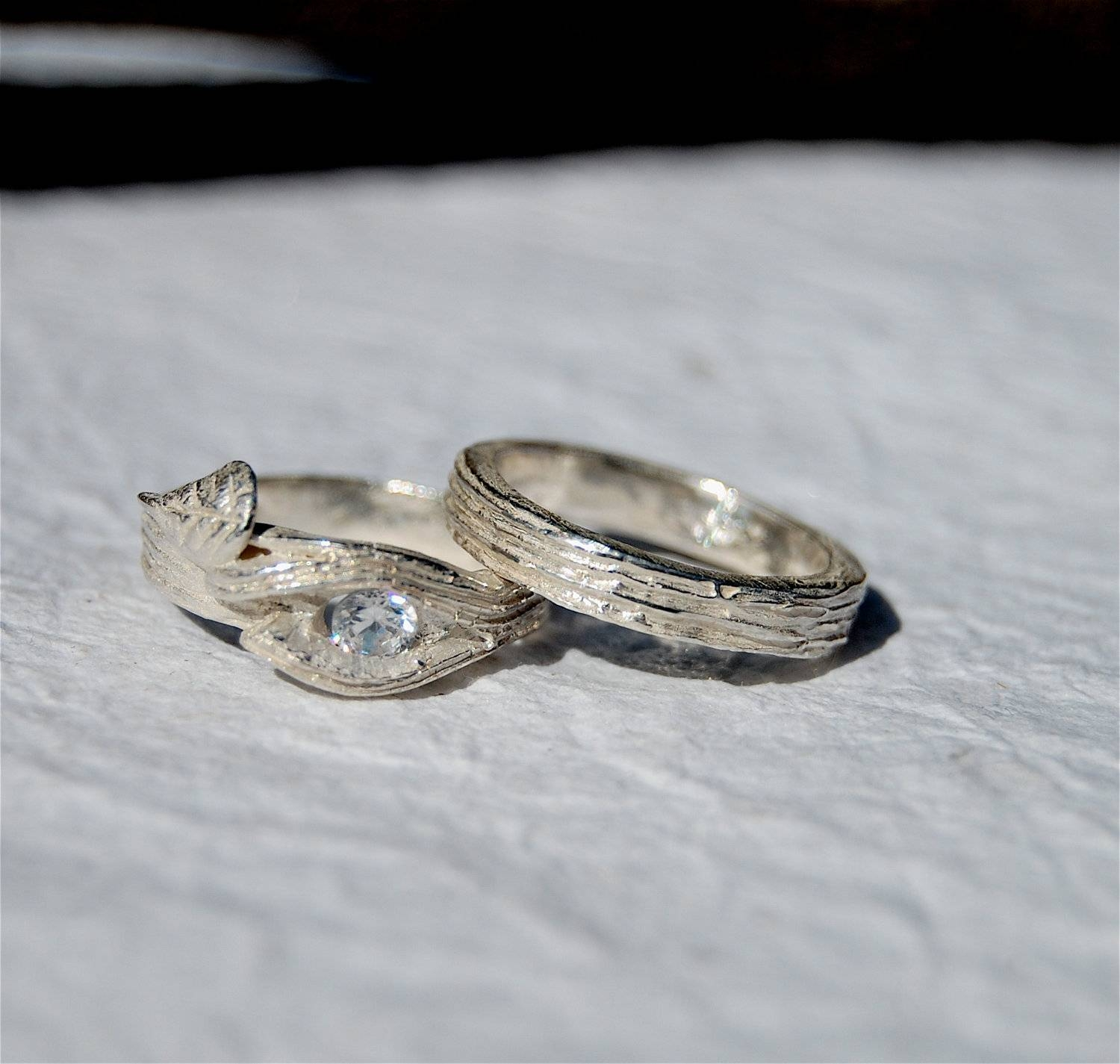 Branch Twig Ring Engagement Swarovski Lab Wedding Set Tree For Tree Inspired Engagement Rings (View 7 of 15)
