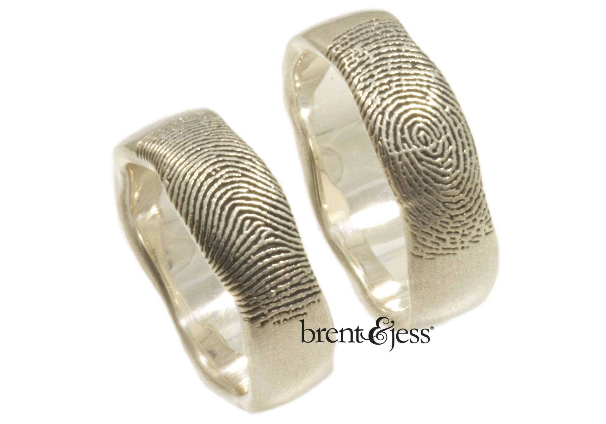 Brent&jess Fingerprint Wedding Rings · Ruffled Intended For Wedding Rings With Fingerprint (View 1 of 15)