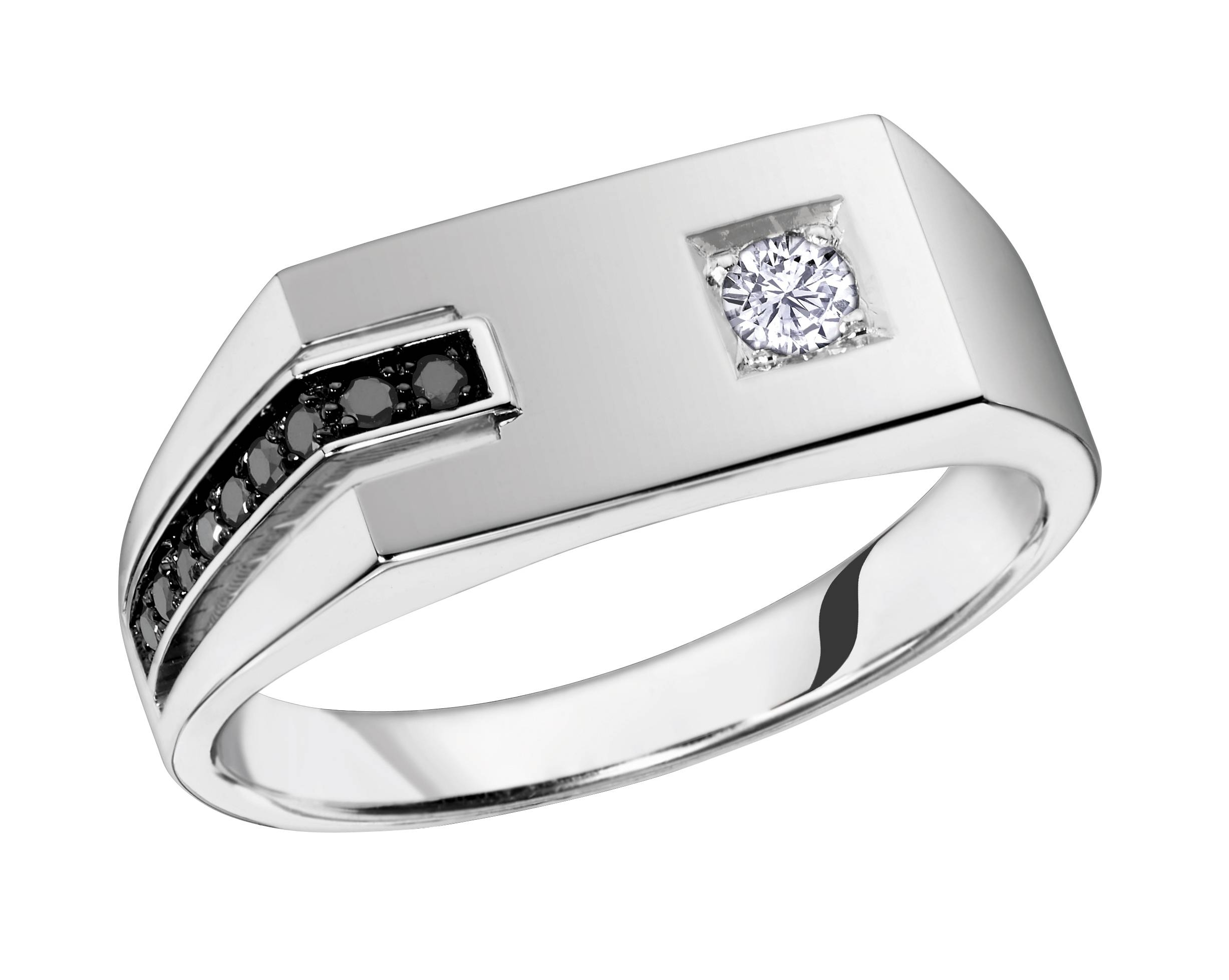 Brilliant Gold Jewellery – Men's Ring, 10k White Gold Mens Black In White Gold Male Wedding Rings (View 8 of 15)