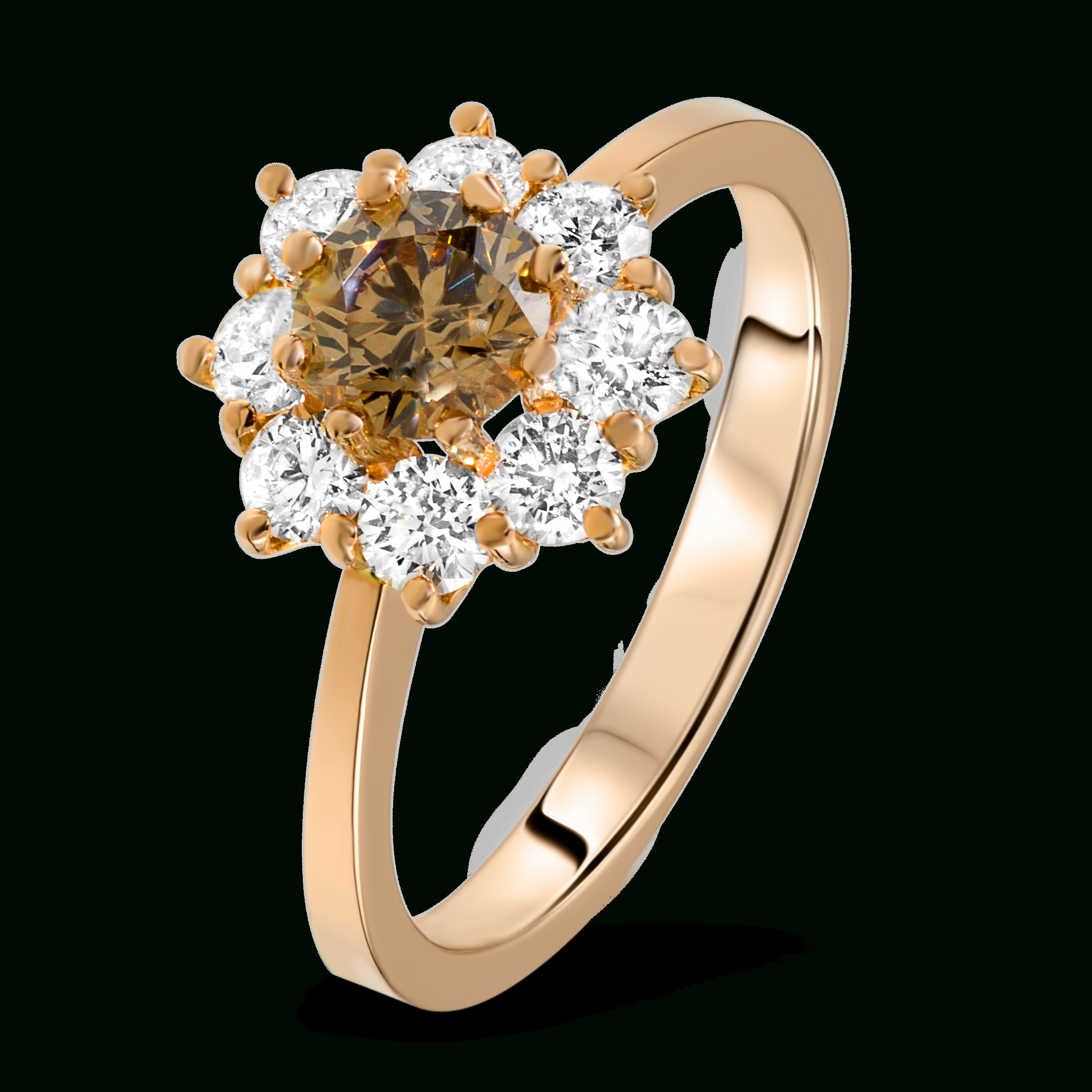 Brown Diamond Ring In 18K Rose Gold – Diamondland Regarding Extravagant Engagement Rings (View 2 of 15)