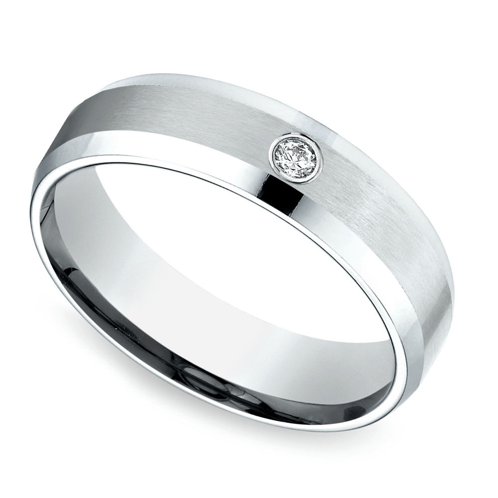 Brushed Inset Men's Diamond Wedding Ring In Tungsten Inside Inset Engagement Rings (View 5 of 15)