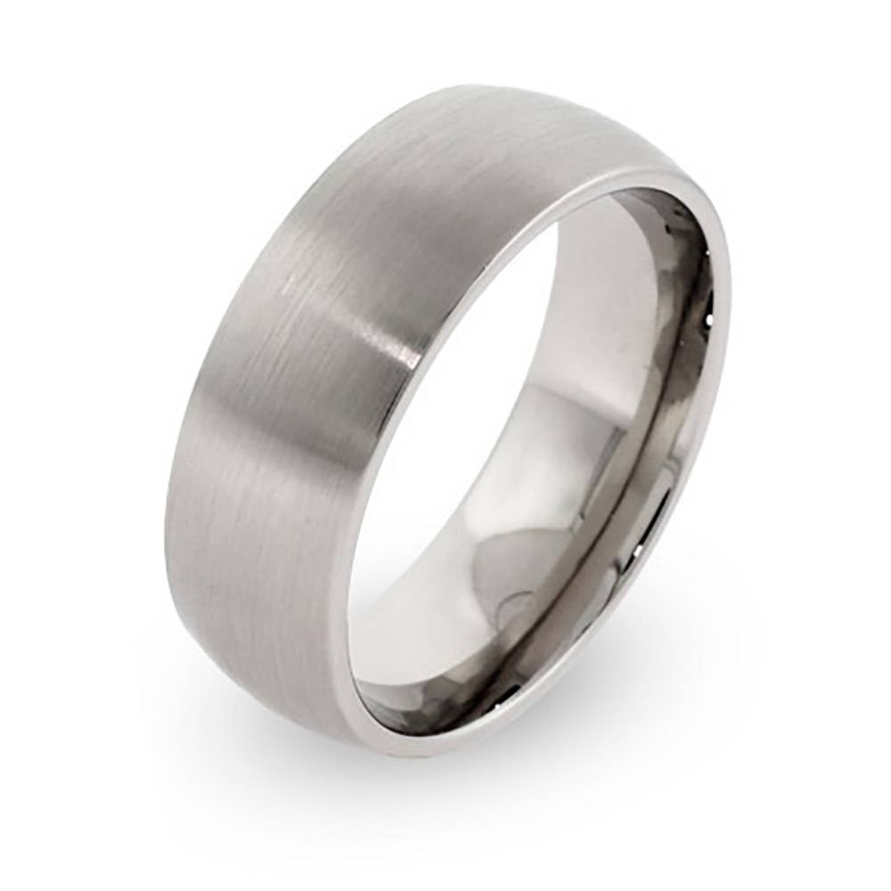 Brushed Stainless Steel Wedding Band | Eve's Addiction® Throughout Steel Wedding Bands (View 2 of 15)