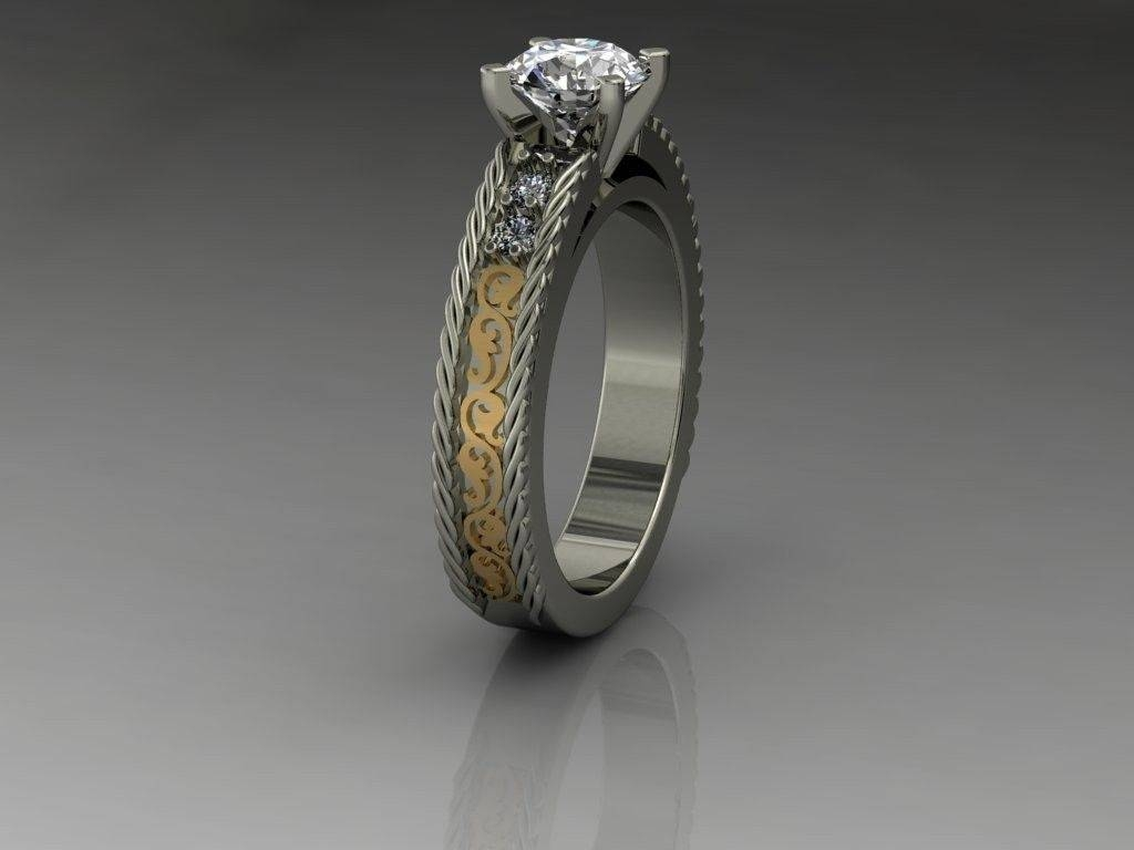 Buy A Custom Made 14Kt Ladies White Gold And Yellow Gold Western For Country Wedding Rings (View 3 of 15)