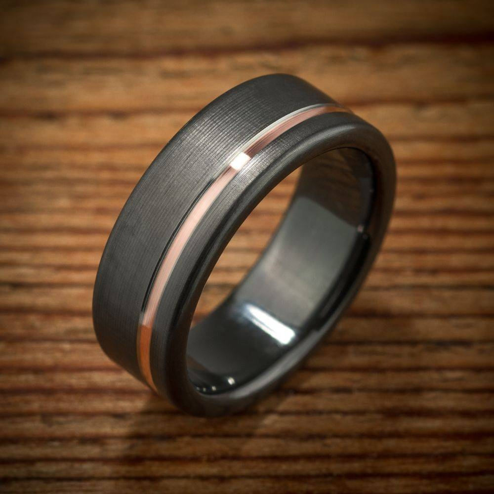 Buy A Custom Made Black Zirconium Rose Gold Wedding Band, Made To For Black And Gold Mens Wedding Bands (View 5 of 15)