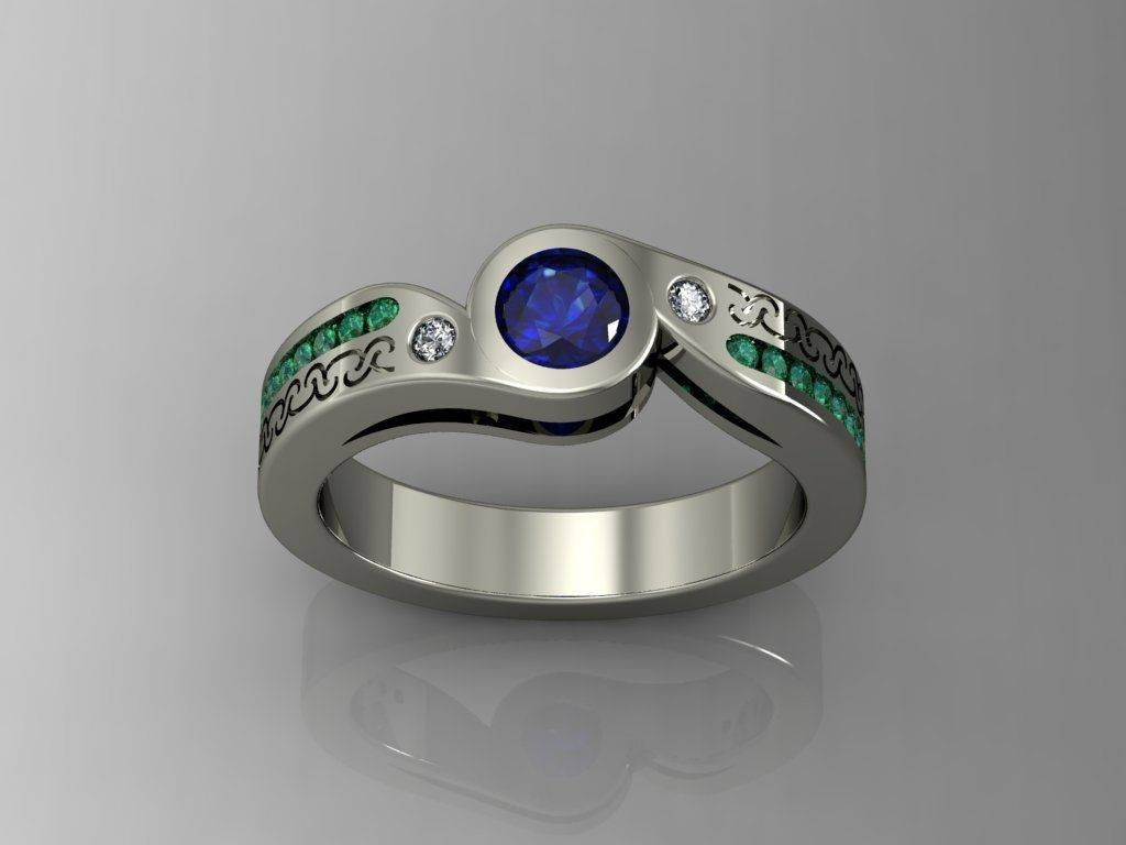 Buy A Custom Made Sapphire And Emerald Engagement Ring!, Made To Regarding Emerald Sapphire Engagement Rings (Gallery 1 of 15)
