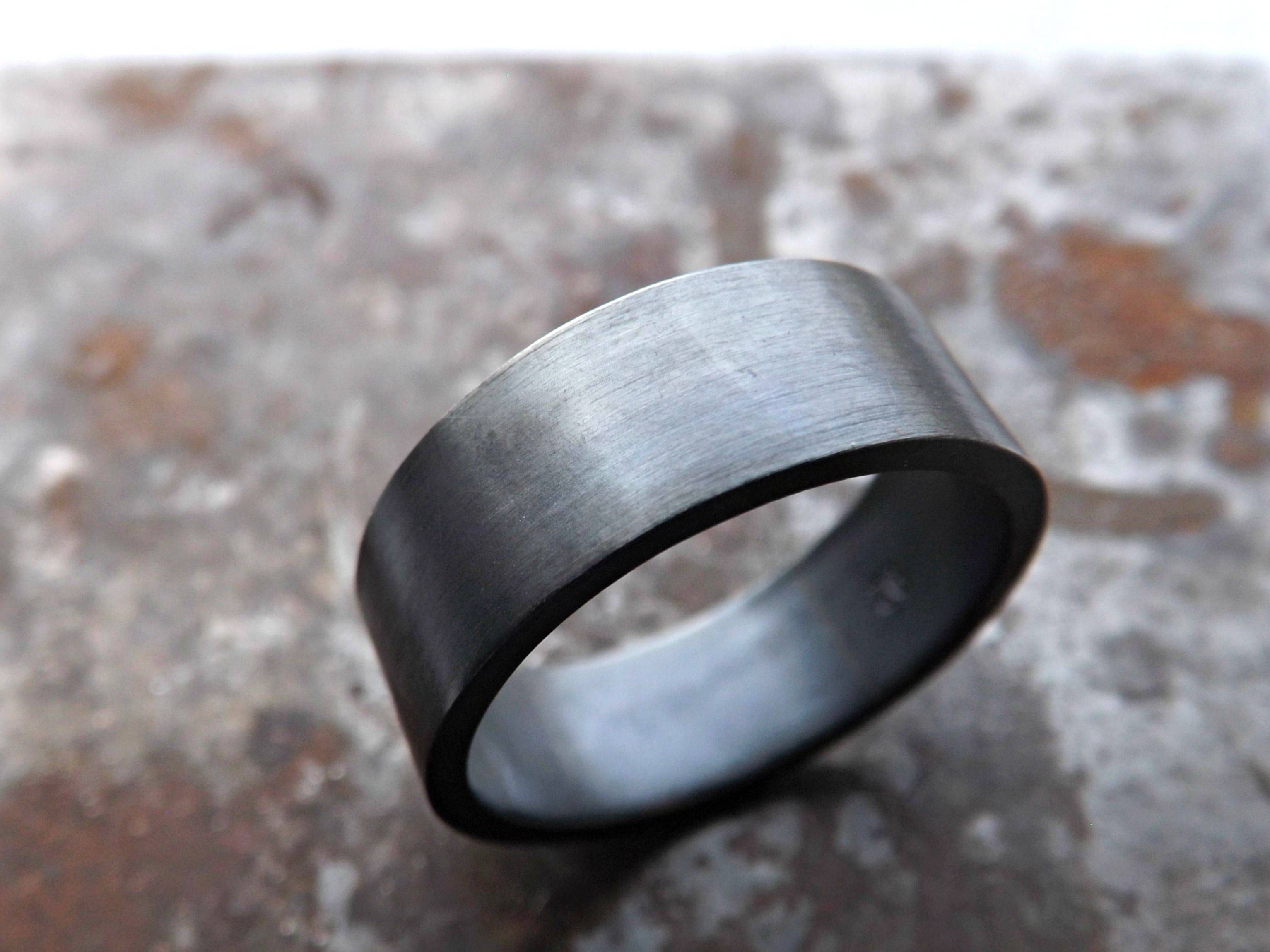 Buy A Custom Mens Wedding Ring Silver, Flat Silver Band, Black Throughout Handmade Mens Wedding Rings (View 1 of 15)