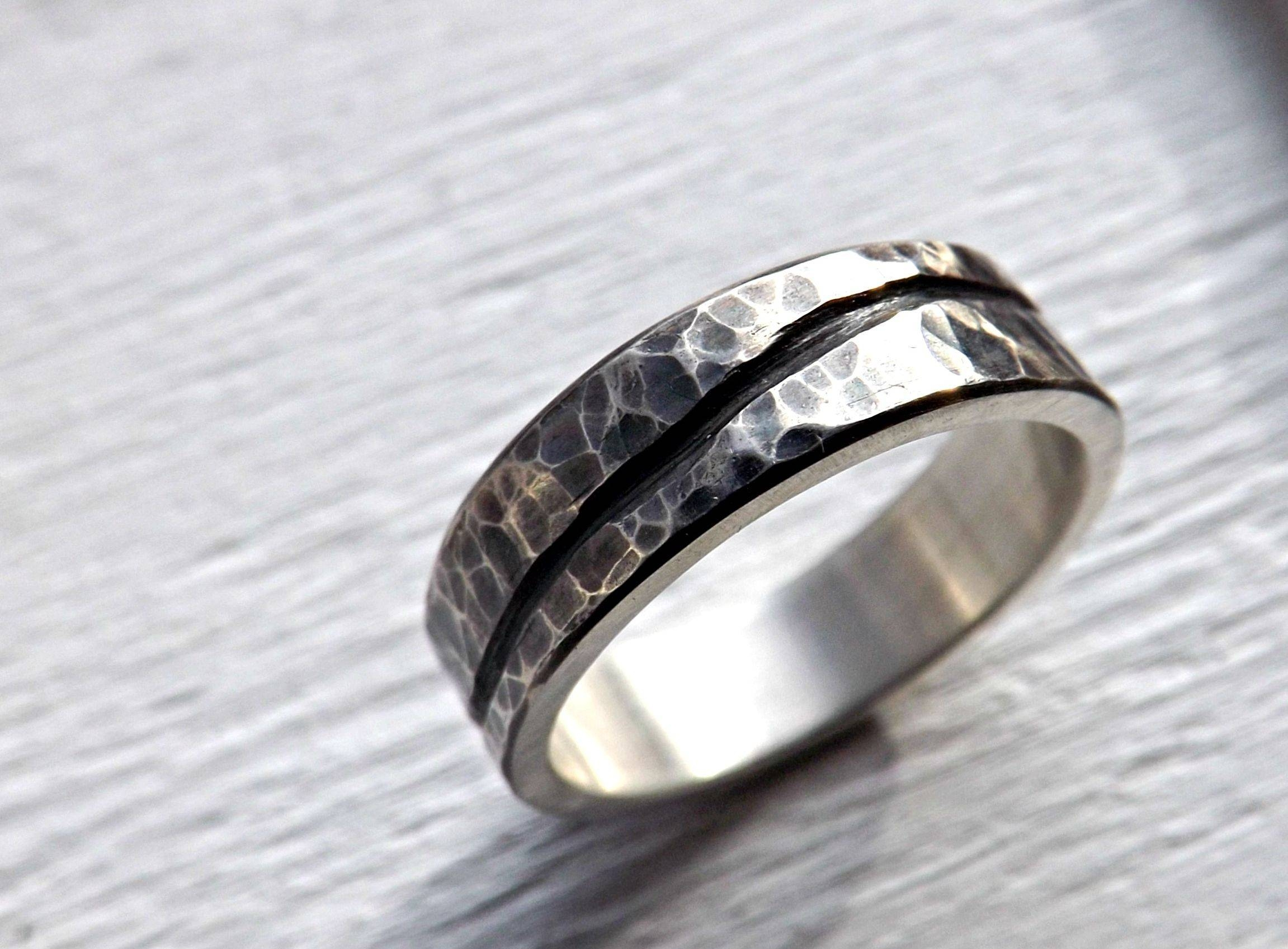Buy A Custom Rustic Wave Ring Silver, Mens Wedding Band Ocean Intended For Silver Mens Engagement Rings (View 4 of 15)