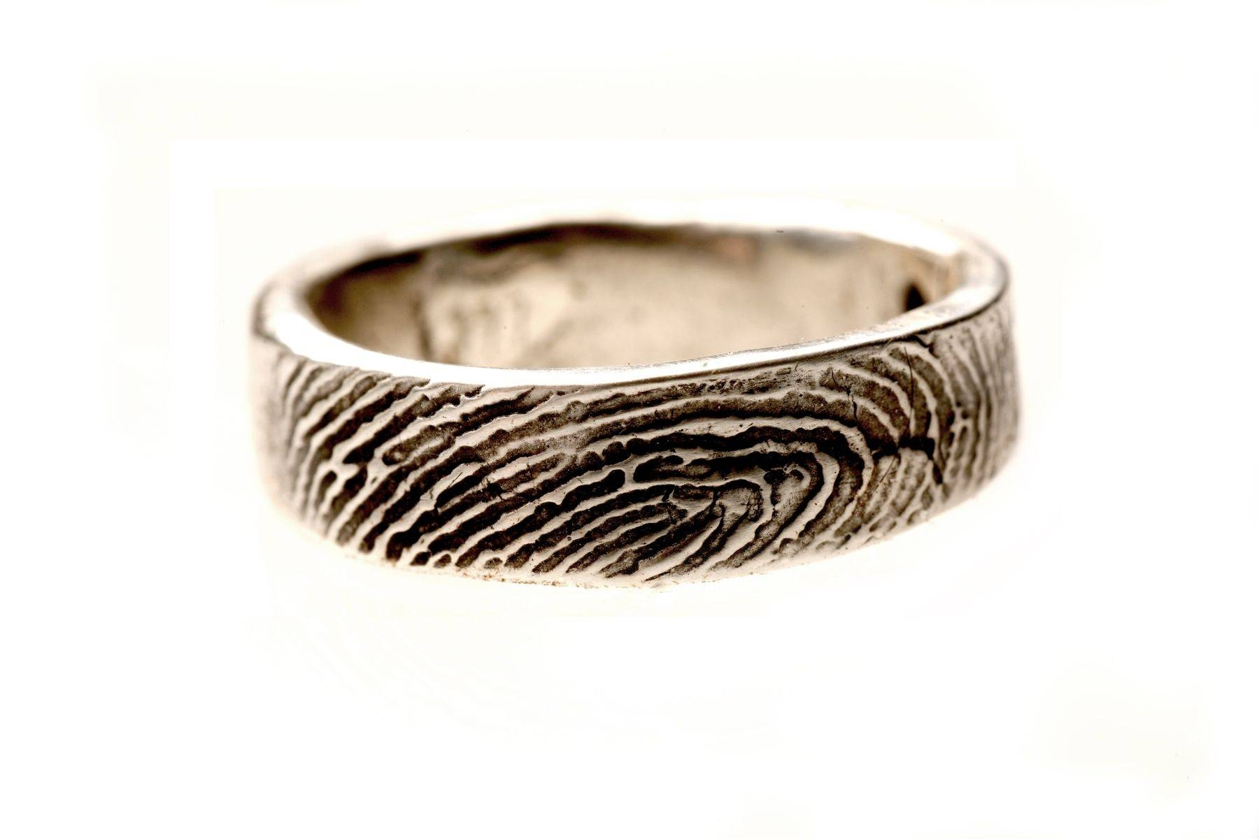 Buy A Custom Sterling Silver Ladies Or Mens Fingerprint Wedding Within Wedding Rings With Fingerprint (View 3 of 15)