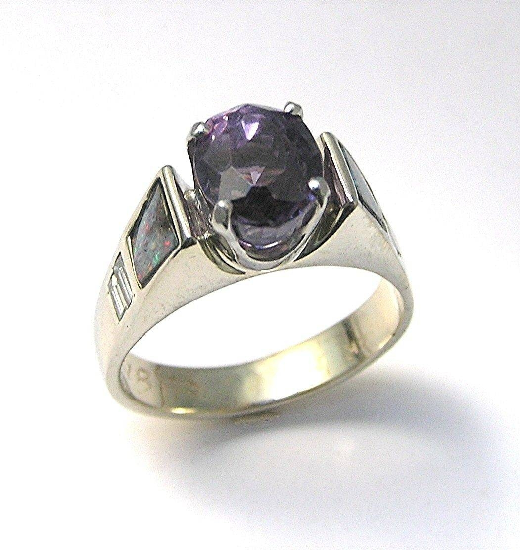Buy A Hand Crafted Engagement Ring | Purple Spinel,diamond,black With Hand Crafted Engagement Rings (View 5 of 15)