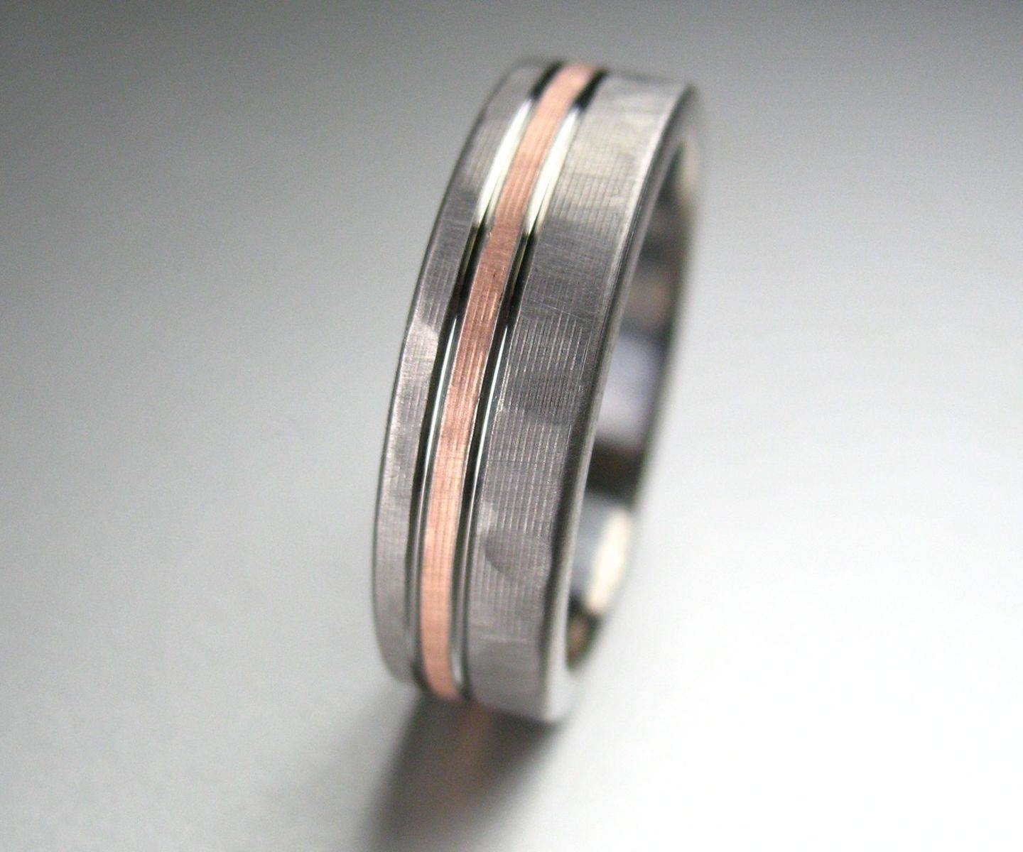 Buy A Hand Crafted Personalized Titanium & Rose Gold Hammered Intended For Hammered Rose Gold Wedding Bands (View 5 of 15)