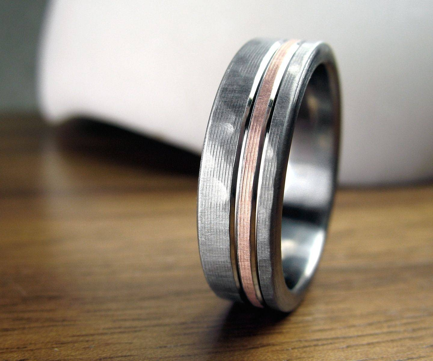Buy A Hand Crafted Personalized Titanium & Rose Gold Hammered With Hammered Rose Gold Mens Wedding Bands (View 6 of 15)