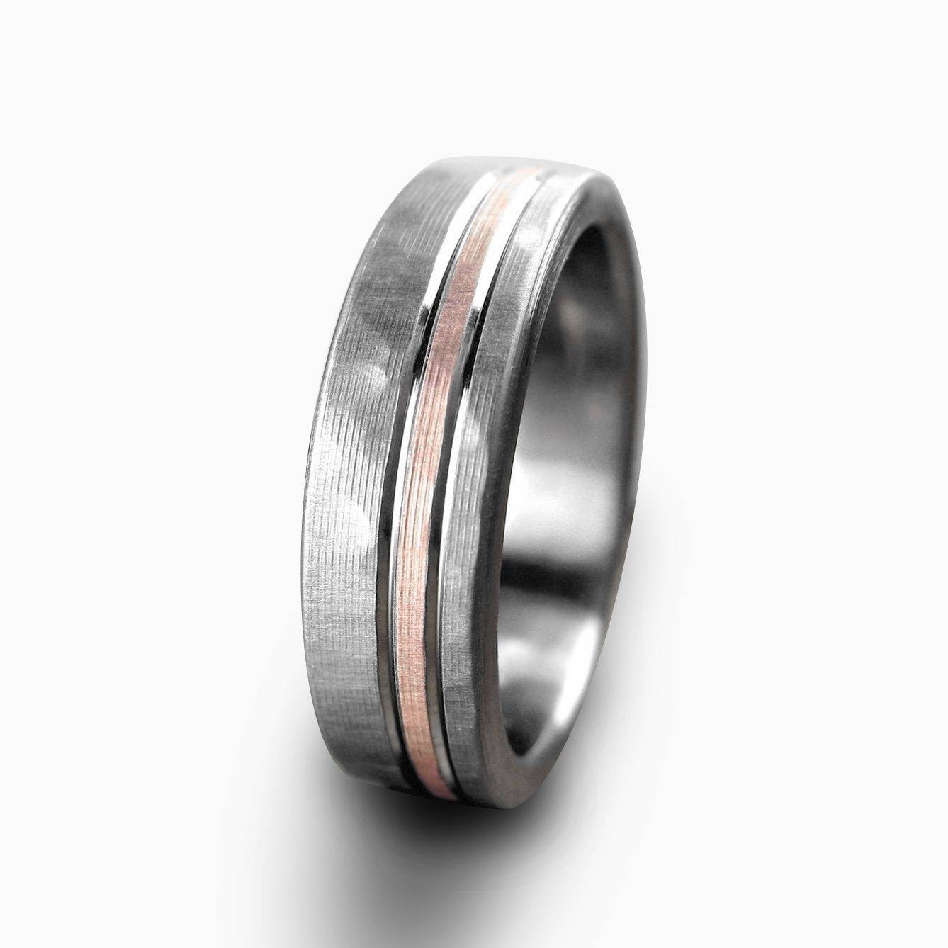 Buy A Hand Crafted Personalized Titanium & Rose Gold Hammered With Hammered Tungsten Men's Wedding Bands (View 3 of 15)