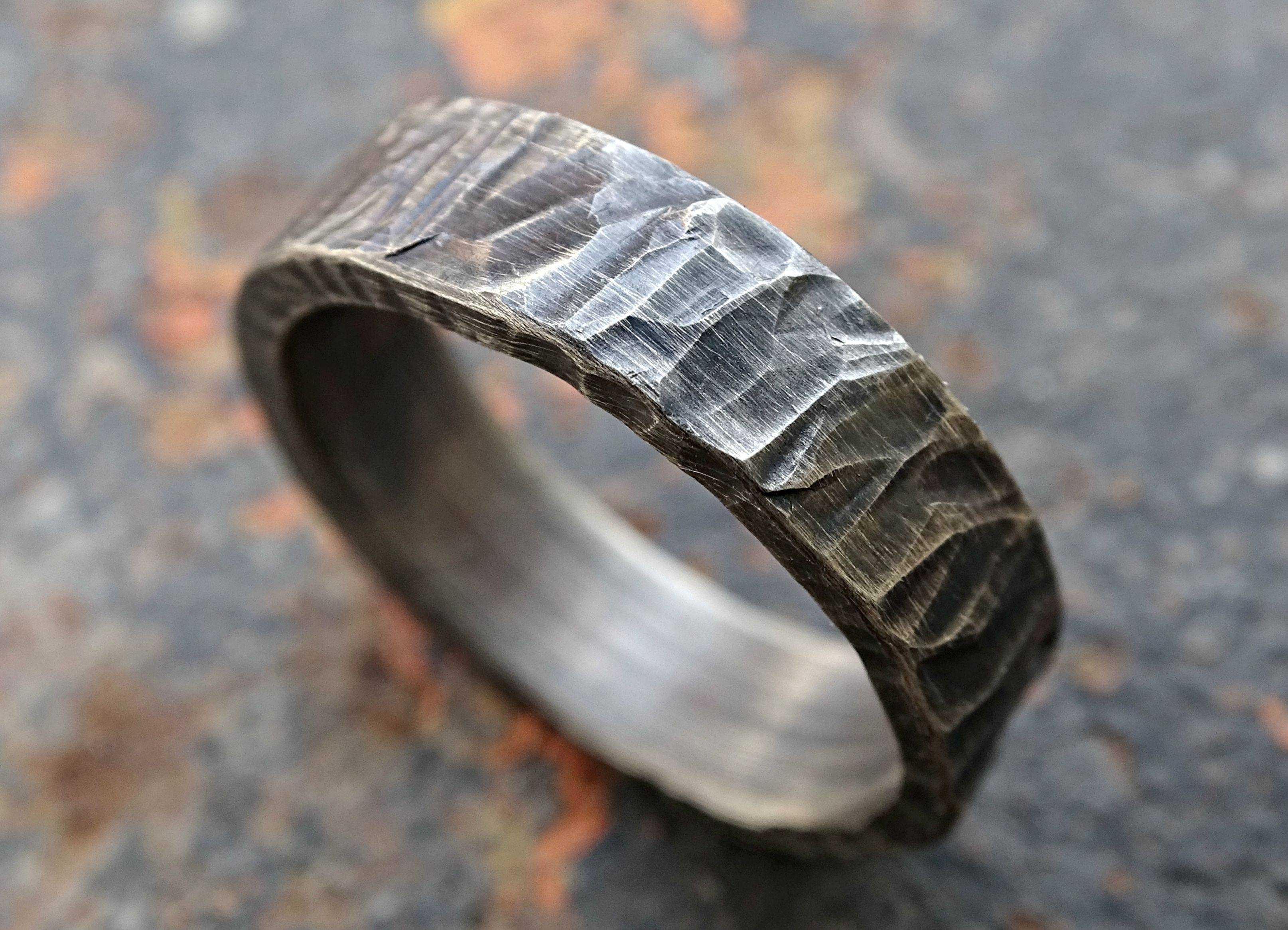 Buy A Hand Crafted Rugged Silver Wedding Band, Cool Mens Ring Regarding Cool Men Wedding Rings (View 2 of 15)