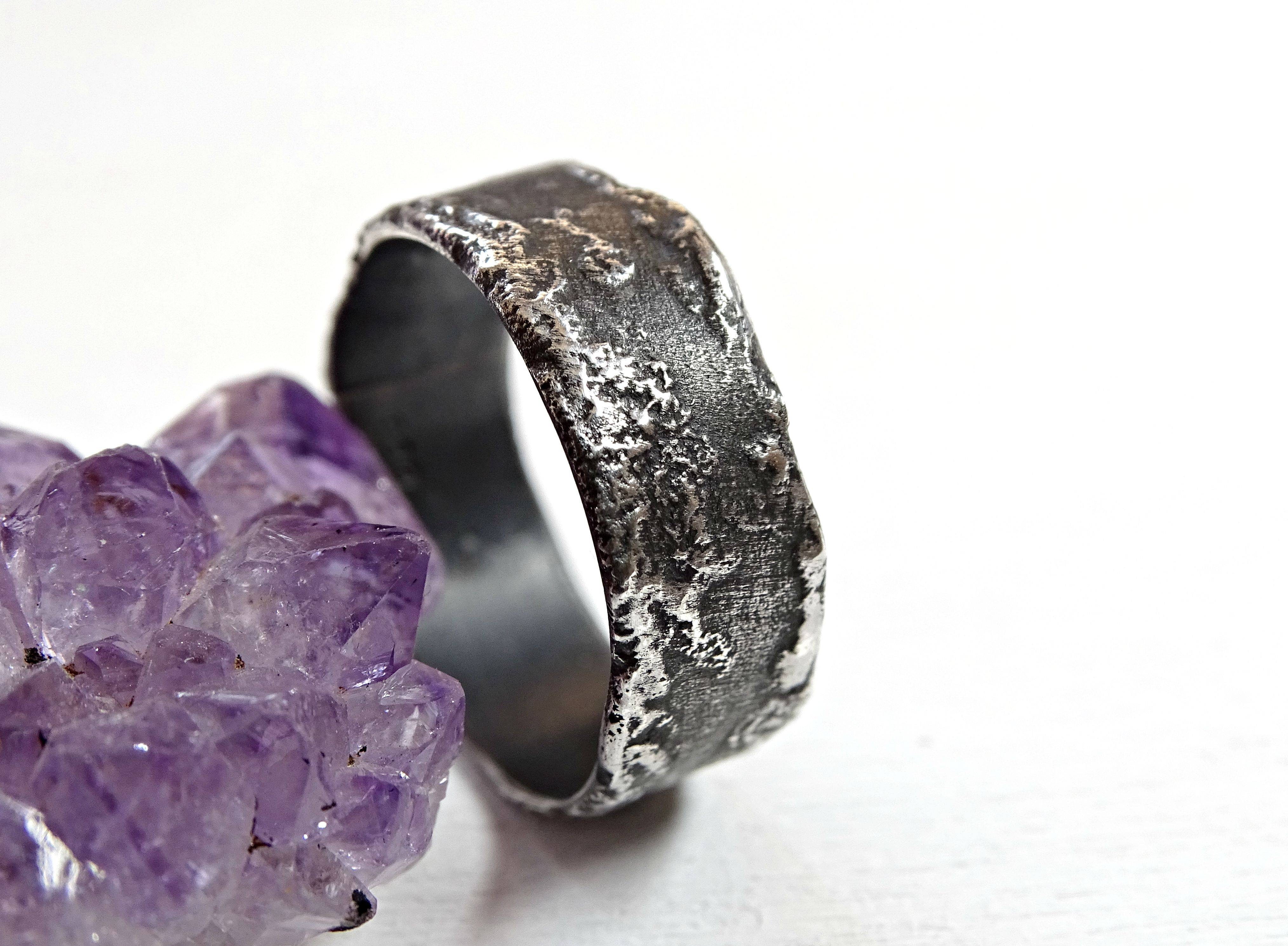 Buy A Hand Crafted Unique Silver Ring Molten Surface, Cool Mens In Silver Engagement Bands (View 12 of 15)