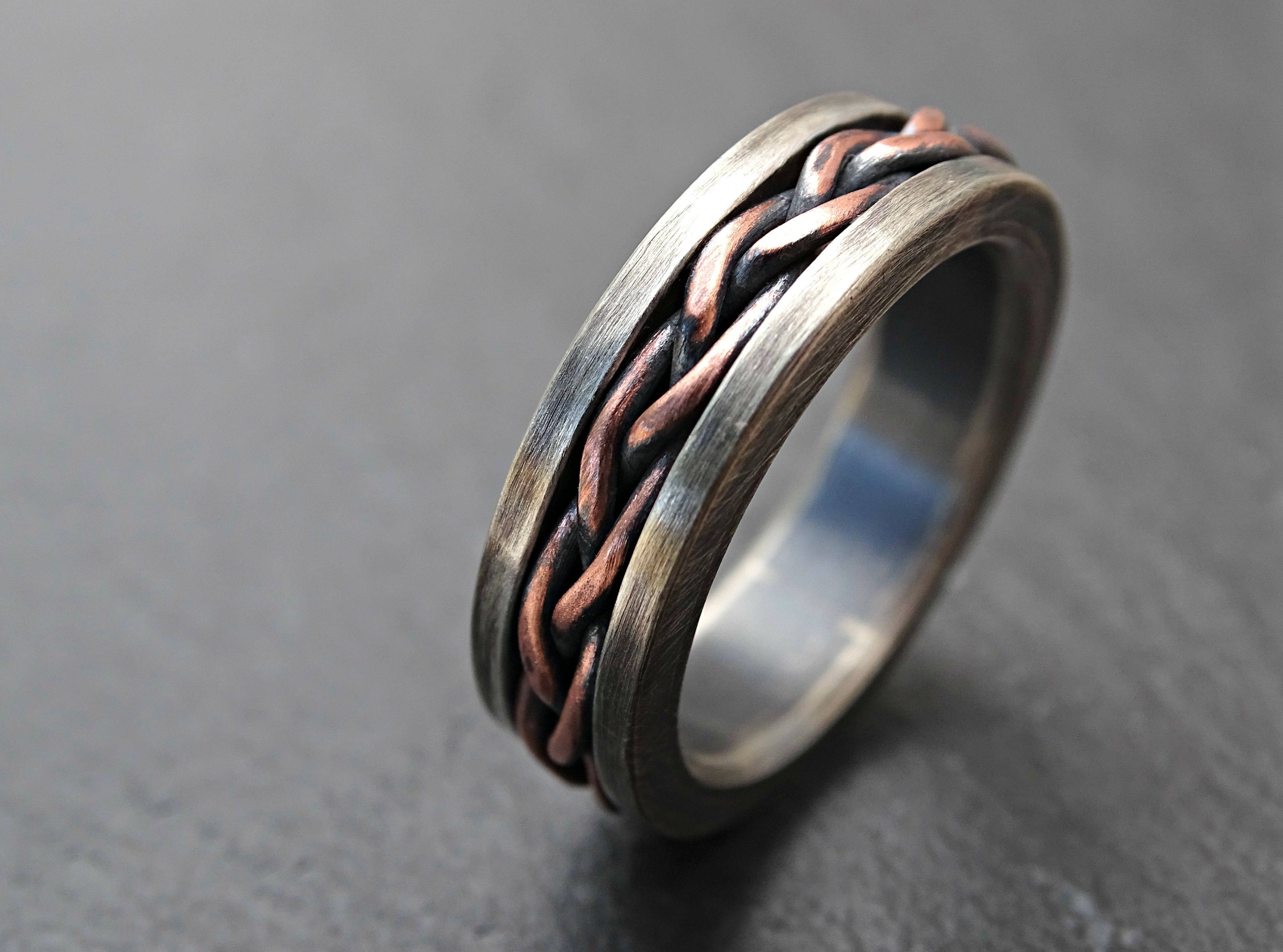 Buy A Hand Crafted Viking Wedding Band, Braided Ring Two Tone With Regard To Viking Engagement Rings (Gallery 1 of 15)