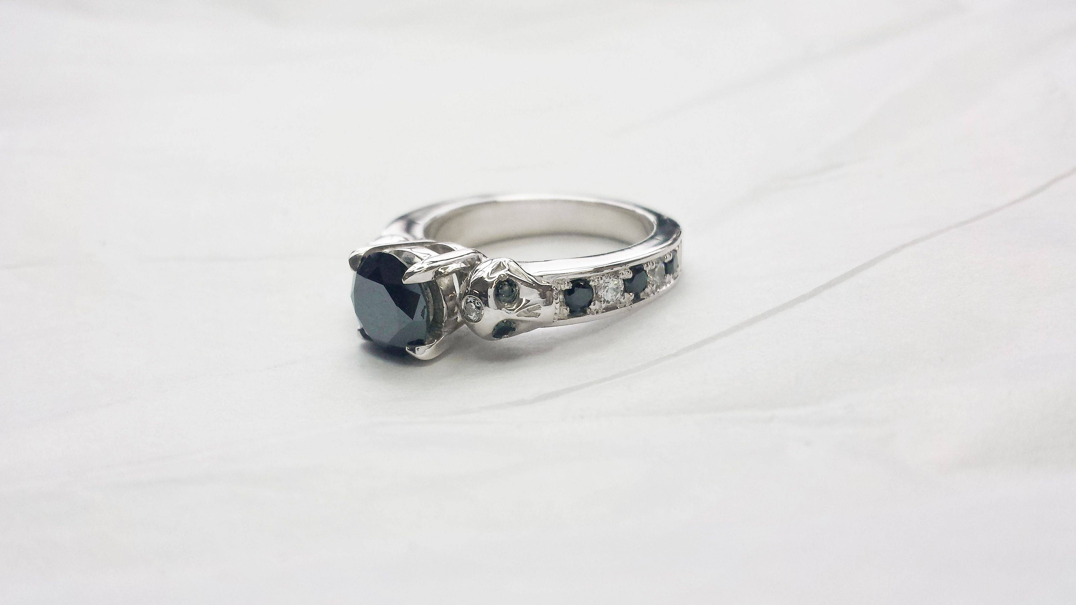 Buy A Hand Made Black & White Diamond Skull Engagement Ring, Made Throughout Black Diamond Skull Engagement Rings (View 2 of 15)