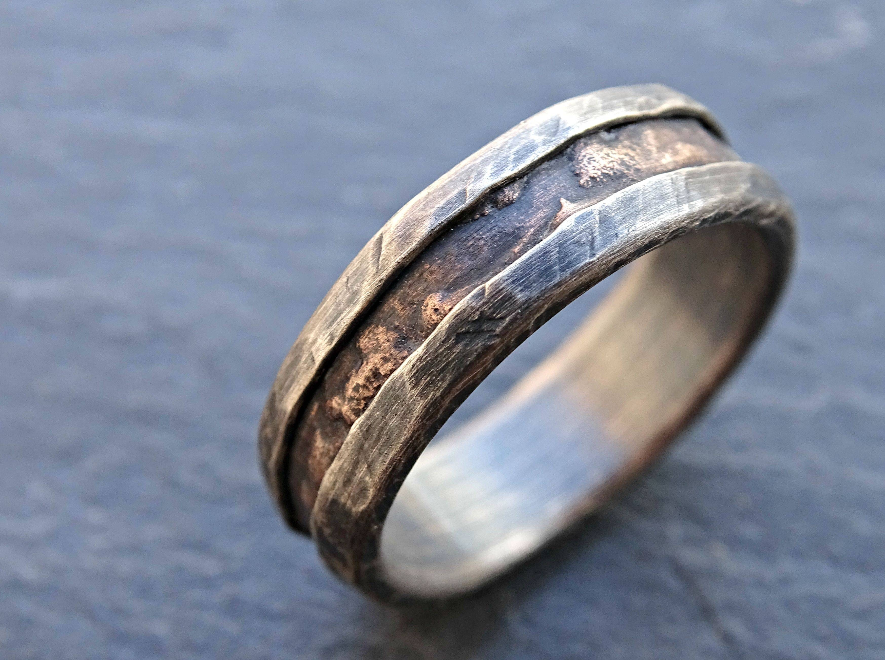 Buy A Hand Made Cool Mens Ring, Alternative Wedding Band Rugged Regarding Wood Grain Wedding Bands (View 3 of 15)