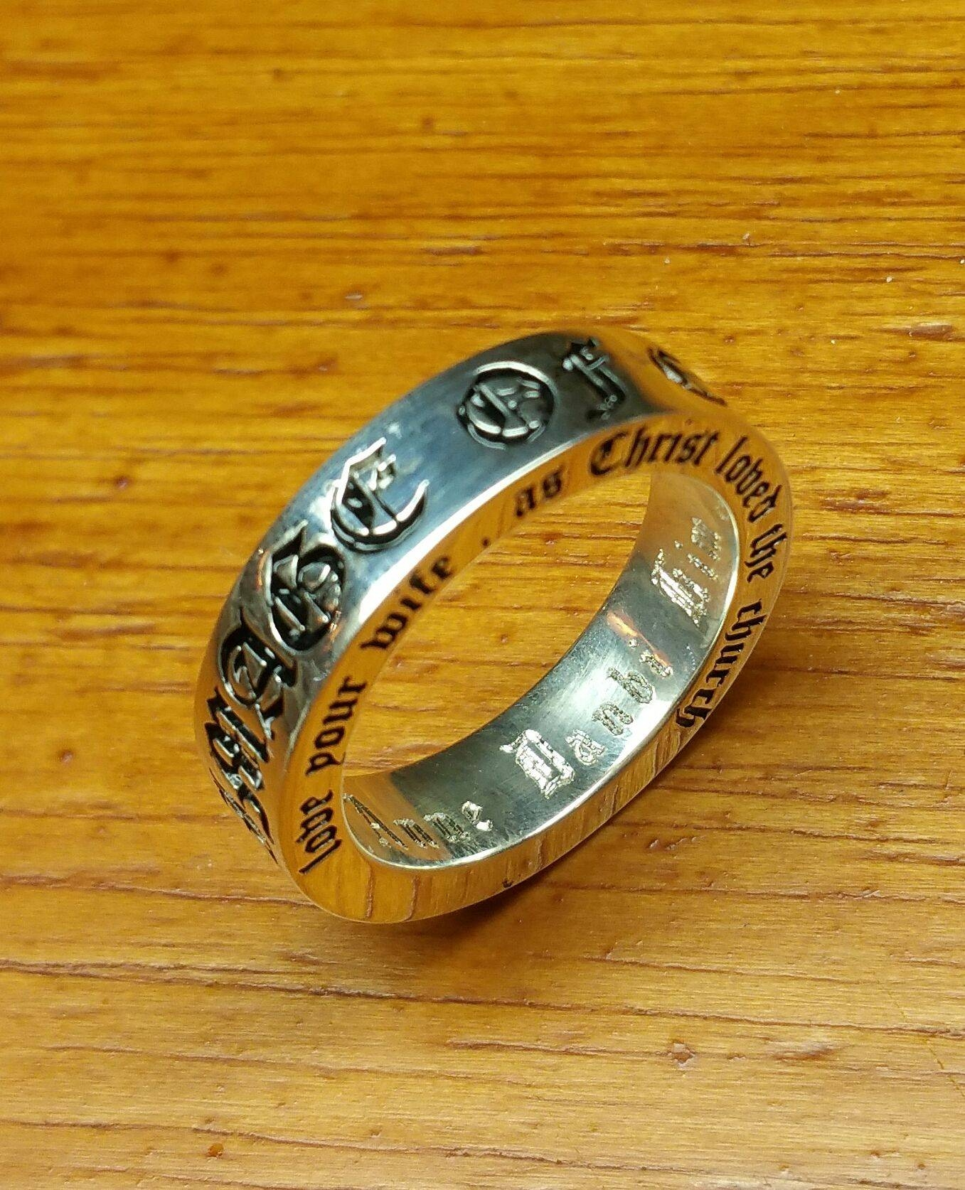 Buy A Hand Made Customized Old English Font Wedding Bands/ring For Customized Wedding Bands (View 4 of 15)