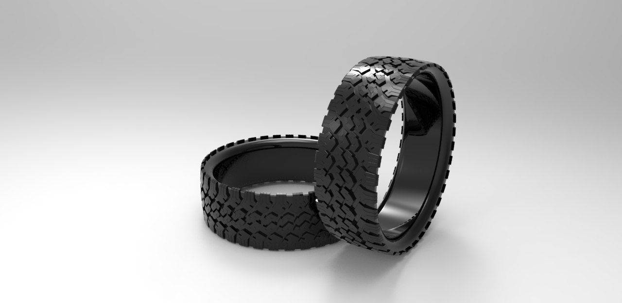Buy A Hand Made Mens' Tire Wedding Band Black Silver Tire Ring Throughout Tire Wedding Bands (View 9 of 15)