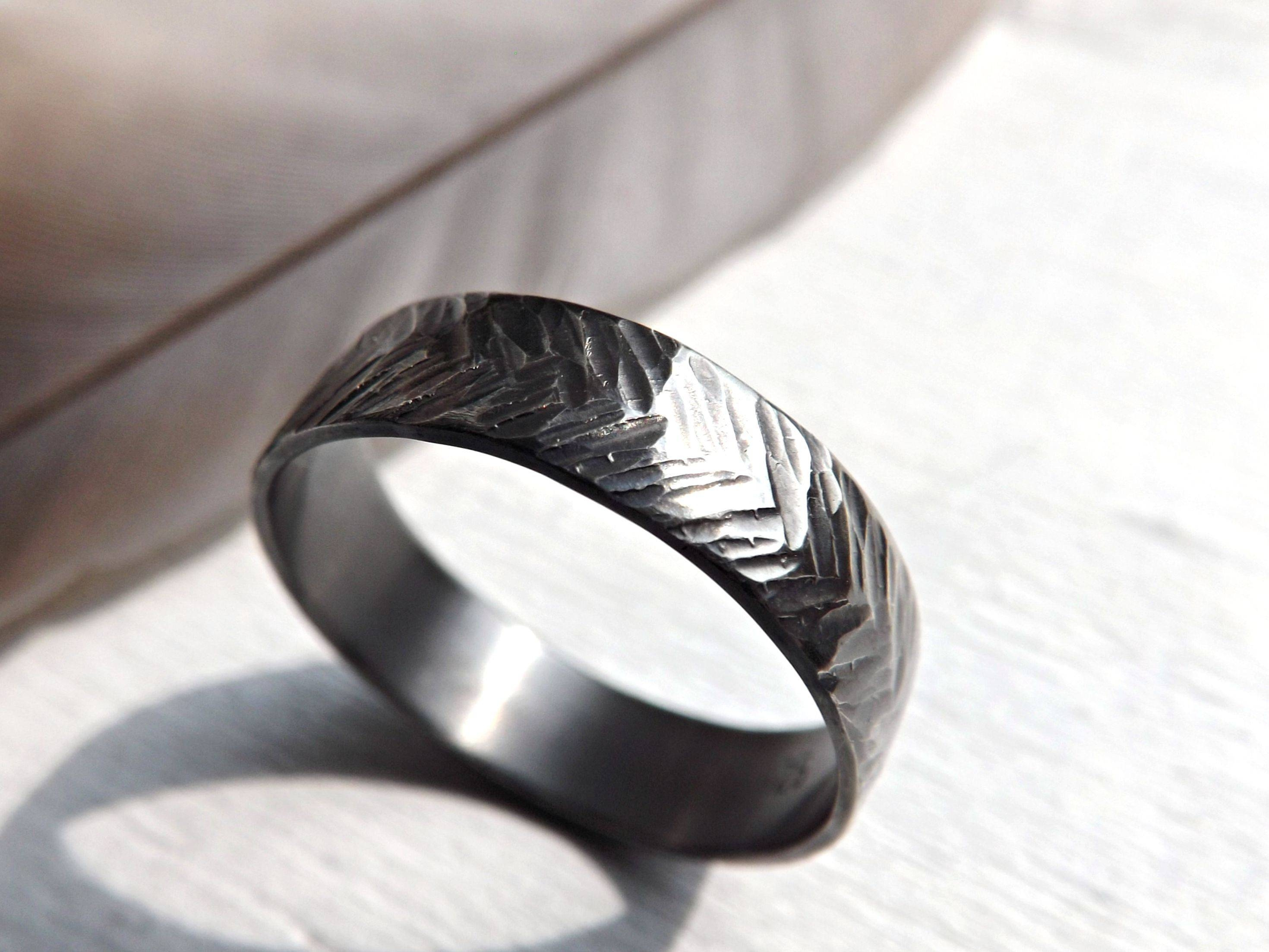 Buy A Handmade Chevron Wedding Ring Silver, Sterling Silver Ring With Handmade Men's Wedding Bands (View 1 of 15)