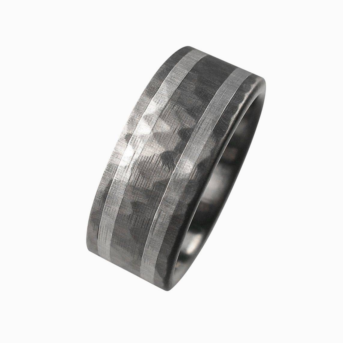 Buy A Handmade Hammered Titanium Men's Wedding Band, Made To Order For Hammered Tungsten Men's Wedding Bands (View 4 of 15)