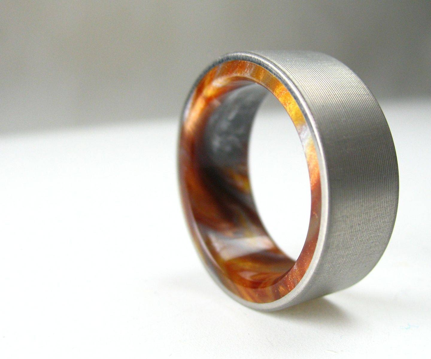 Buy A Handmade Titanium Wood Tone Burl Mens Wedding Band Iced Inside Handmade Men's Wedding Bands (View 2 of 15)