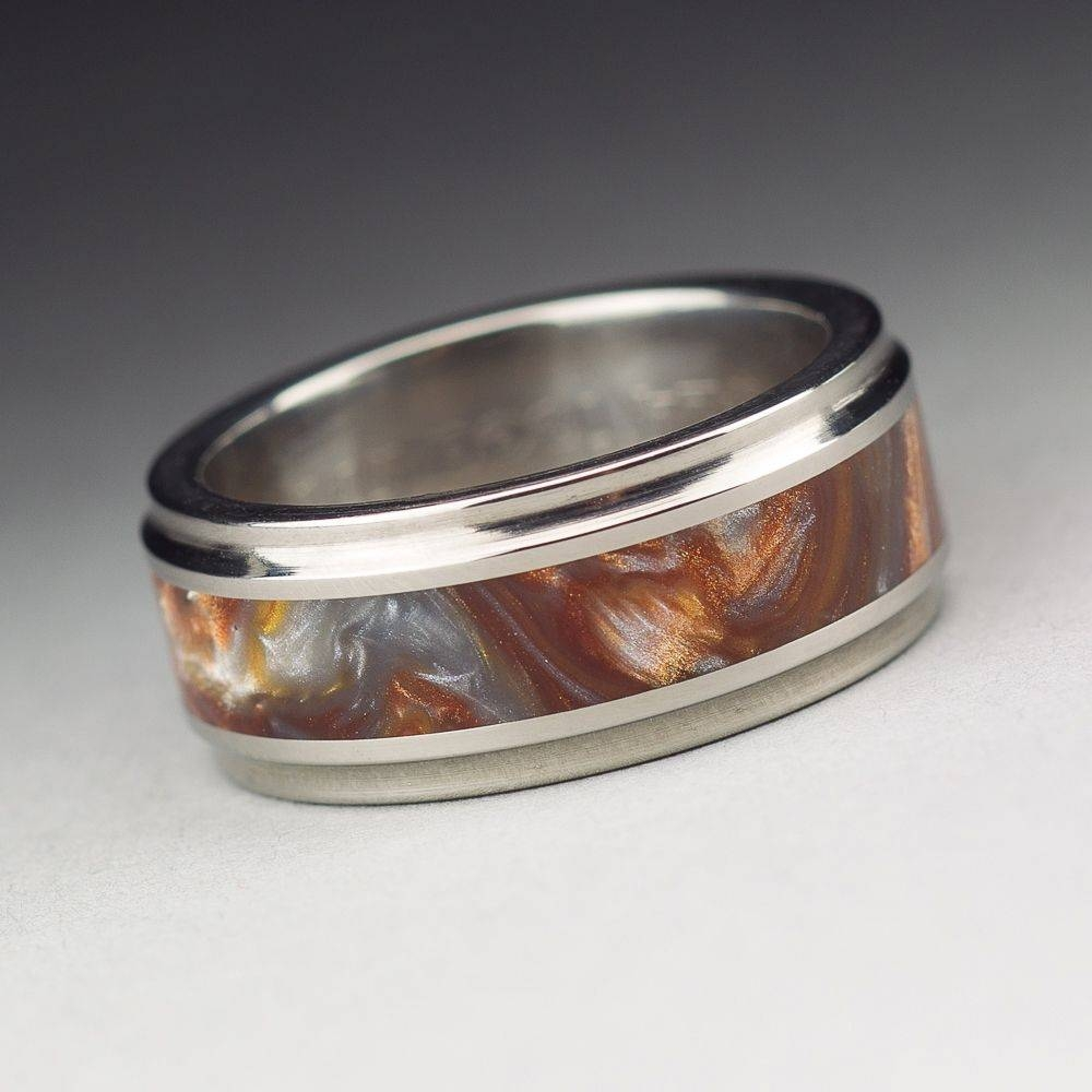 Buy A Handmade Titanium Wood Tone Burl Mens Wedding Band Iced Inside Nautical Wedding Bands (View 5 of 15)
